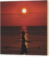 Rastaman Sunset Wood Print