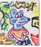 Rat Doodle Wood Print