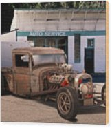 Raunchy Rat Rod Pickup Wood Print