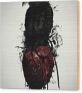 Raven And Heart Grenade Wood Print