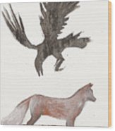 Raven And Old Fox Wood Print