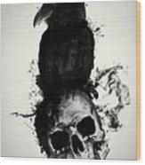 Raven And Skull Wood Print