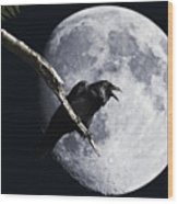 Raven Barking At The Moon Wood Print by Wingsdomain Art and Photography