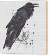 Raven  Black Bird Gothic Art Wood Print by Alison Fennell