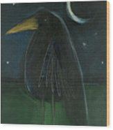 Raven By Moonlight No. 2 Wood Print