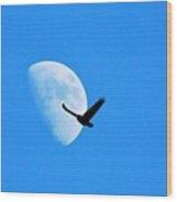 Raven Flys Past Quarter Moon Wood Print