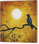 Raven In Golden Splendor Wood Print