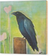 Raven In The Garden Wood Print