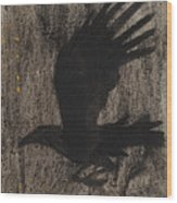 Raven In The Night With Ochre Wood Print