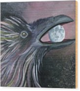 Raven Moon Wood Print by Amy Reisland-Speer