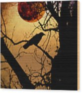 Raven Moon Wood Print by Bill Cannon