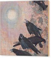 Raven Party Wood Print