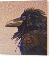 Raven Shaman Wood Print by Brian  Commerford