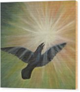 Raven Steals The Light Wood Print by Bernadette Wulf