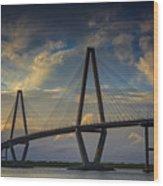 Ravenel Bridge Sunset Wood Print