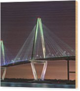 Ravenel Bridge Twilight Wood Print
