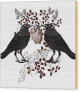 Ravens And Anatomical Heart Wood Print