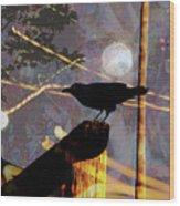 Ravens Night Wood Print