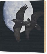 Ravens Of The Night Wood Print by Wingsdomain Art and Photography