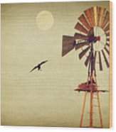 Ravens Under The Moon Wood Print