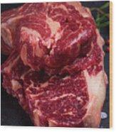 Raw Beef Steak Wood Print