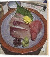 Raw Fish Sashimi Plate - Kyoto Japan Wood Print