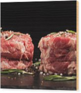 Raw Steak Meat On The Dark Surface Wood Print