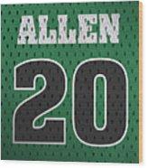 Ray Allen Boston Celtics Retro Vintage Jersey Closeup Graphic Design Wood Print