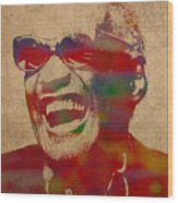 Ray Charles Watercolor Portrait On Worn Distressed Canvas Wood Print