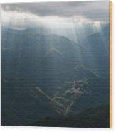 Rays Of Light In The Clouds - Raggi Di Luce Tra Le Nuvole Dell'alta Via Dei Monti Liguri Wood Print