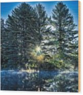 Rays Of Light On The Androscoggin River Wood Print