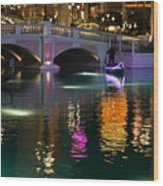 Razzle Dazzle - Colorful Neon Lights Up Canals And Gondolas At The Venetian Las Vegas Wood Print