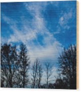 Reaching For Blue Wood Print