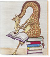 Reading Giraffe Wood Print