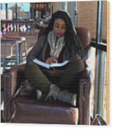 Reading In Starbucks Wood Print