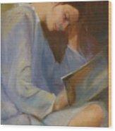 Reading in the Blue Robe II Wood Print