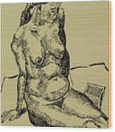 Reading Naked Woman Wood Print