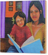 Reading With Mom Wood Print