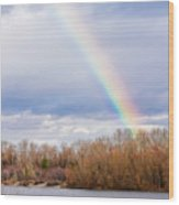 Real Rainbow Over The River Wood Print