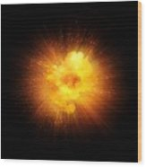 Realistic Fiery Explosion, Orange Color With Sparks Isolated On Black Background Wood Print