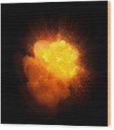 Realistic Fire Explosion, Orange Color With Smoke And Sparks Wood Print
