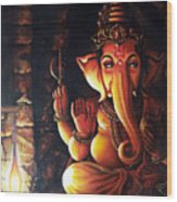 Portrait Of Lord Ganapathy Ganesha Wood Print