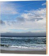 Receding Fog Seascape Wood Print