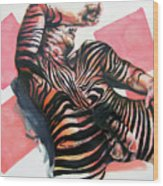 Reclined Striped And Symbolic  Wood Print