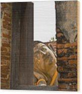Reclining Buddha View Through A Window Wood Print