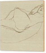 Reclining Nude Facing Right Wood Print