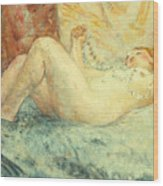 Reclining Nude Wood Print by Henri Lebasque