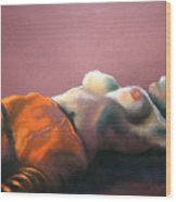 Reclining Nude With Striped Pants Wood Print