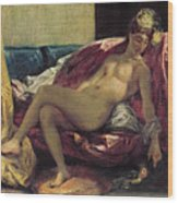 Reclining Odalisque Wood Print by Ferdinand Victor Eugene Delacroix