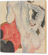 Reclining Woman In Red Trousers And Standing Female Nude Wood Print by Egon Schiele